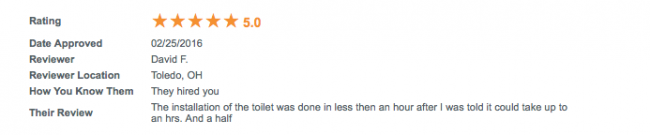 Toilet Installation Review from Home Advisor...